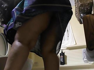 South Indian Maid Cleaning Bathroom and Showering hidden cam