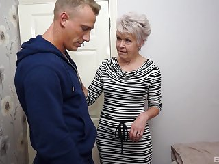 Short haired granny Lady Sextacy fingered and fucked hardcore
