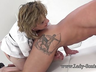 Lady Sonia gives a massage then gets fucked hard