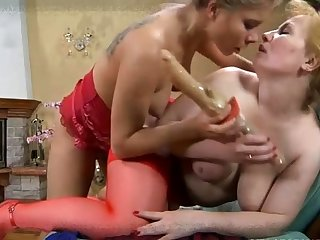 Two mature hot moms fingering and toying