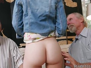 Crimson haired sweetheart is having casual bang-out with 2 old dude in her living apartment