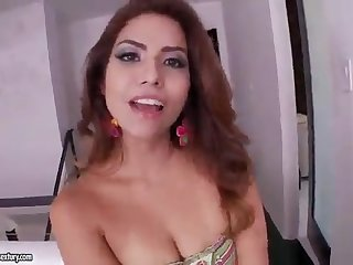 Latina banging a shaved pussy man on the couch