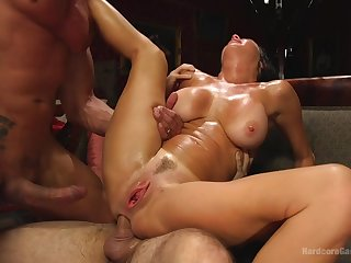 MILF tries anal in brutal gang bang home porn