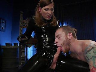 Dirty latex transsexual slut Natalie Mars makes dude suck her lubed cock