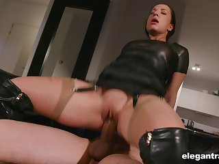 Thick thighed Euro whore with a big booty enjoying some mind blowing fuck