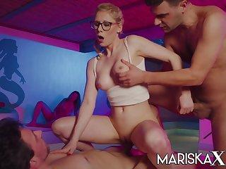 Hot blonde Tina stuffed by two big dicks