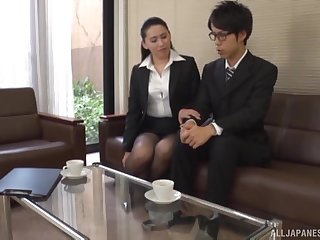 Japanese office lady wants the new guy's cock right away