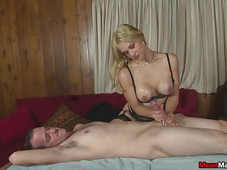 Lucky guy gets his dick pleasured by naughty a blonde slut