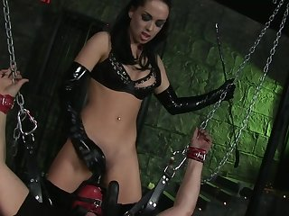 Hot ass brunette dominatrix Kaia Kane enjoys riding a large dick