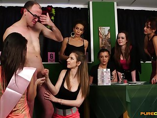 Naked man gets his dick pleasured by Jess West and Loretta Appleton
