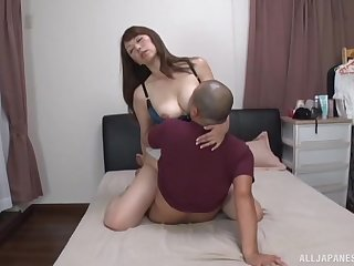 Gentle fucking on the bed with a horny Japanese mature chick