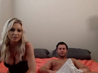 Having exposed her big boobs and blowjob skills blonde is fucked doggy