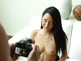 Brunette rides and shakes cock with her feet while being taped