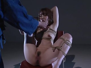 Rope bondage for the adorable Japanese MILF