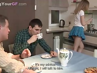 Saucy damsel is getting her daily dosage of pulverize, while her bf is seeing her