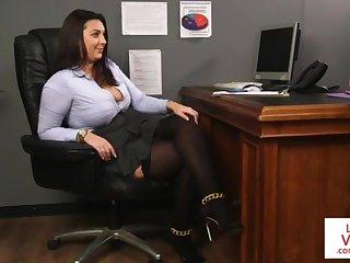 Office honey teaches slave fucking partner to masturbate